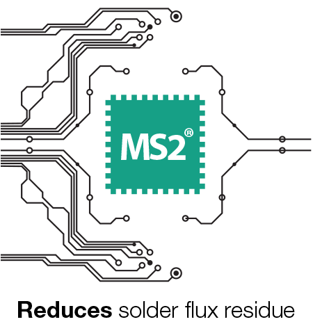 MS2 reduces solder flux residue